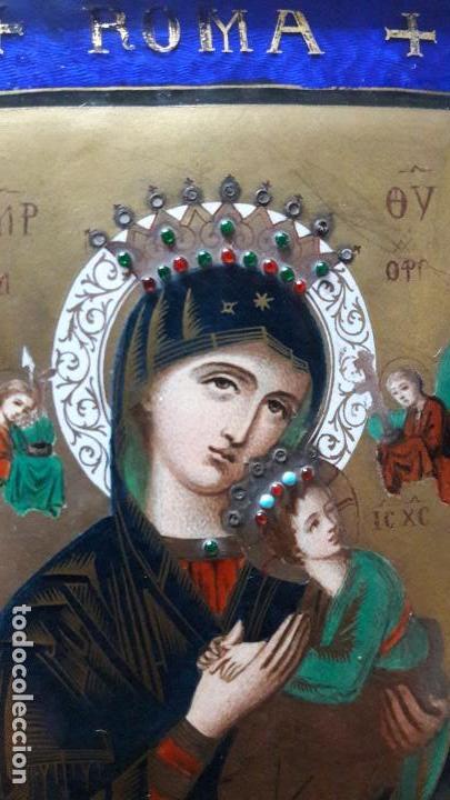 ESMALTE EN COBRE REPRODUCIENDO EL ICONO DE LA VIRGEN DEL PERPETUO SOCORRO. ANGELES Y NIÑO JESUS ROMA (Arte - Arte Religioso - Pintura Religiosa - Otros)