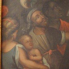 Arte: EVANGELIZACIÓN EN LA NUEVA ESPAÑA. ÓLEO SOBRE LIENZO, SIGLOS XVII-XVIII. 112 X 76 CM.. Lote 144162682