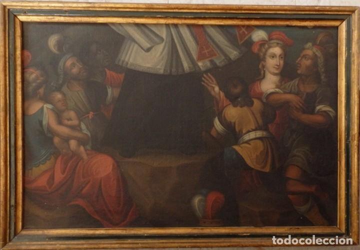 Arte: Evangelización en la Nueva España. Óleo sobre lienzo, Siglos XVII-XVIII. 112 x 76 cm. - Foto 2 - 144162682