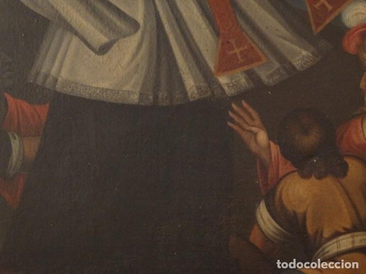 Arte: Evangelización en la Nueva España. Óleo sobre lienzo, Siglos XVII-XVIII. 112 x 76 cm. - Foto 8 - 144162682