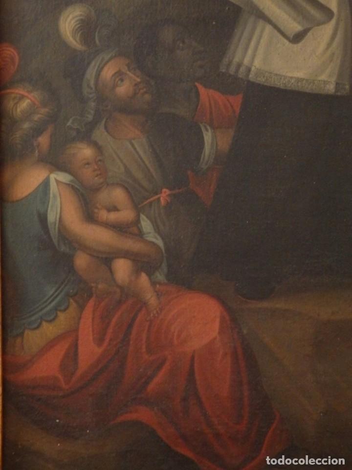 Arte: Evangelización en la Nueva España. Óleo sobre lienzo, Siglos XVII-XVIII. 112 x 76 cm. - Foto 9 - 144162682