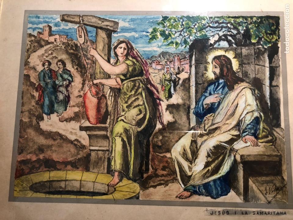 Arte: PEQUEÑO DIBUJO DE JESUS Y LA SAMARITANA, FIRMADO J. VILA. - Foto 2 - 144195374