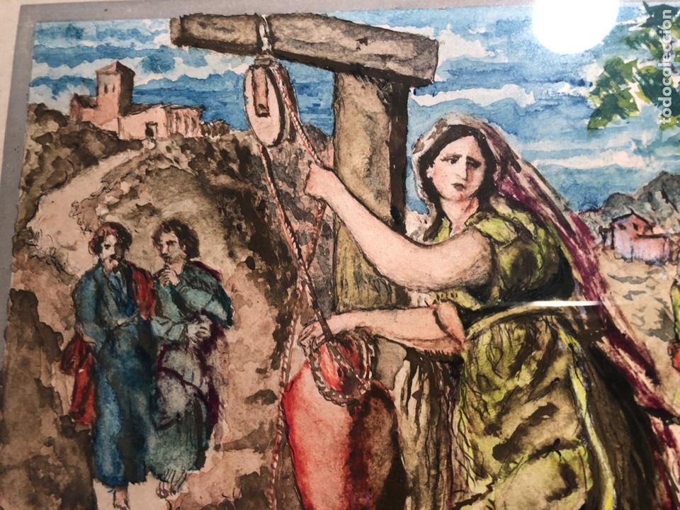 Arte: PEQUEÑO DIBUJO DE JESUS Y LA SAMARITANA, FIRMADO J. VILA. - Foto 4 - 144195374