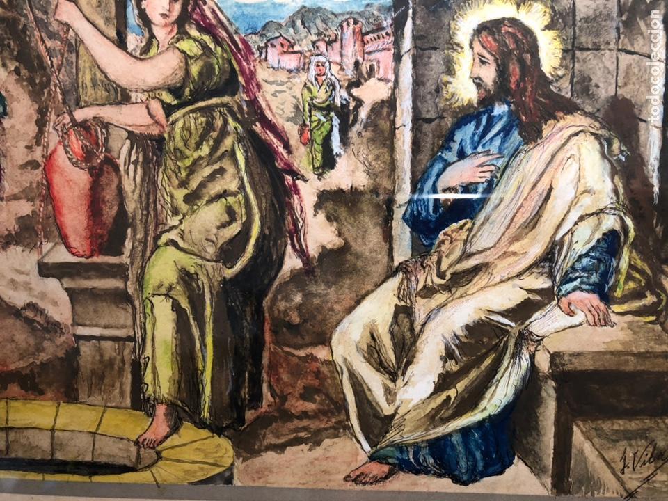 Arte: PEQUEÑO DIBUJO DE JESUS Y LA SAMARITANA, FIRMADO J. VILA. - Foto 5 - 144195374