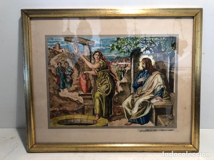 PEQUEÑO DIBUJO DE JESUS Y LA SAMARITANA, FIRMADO J. VILA. (Arte - Arte Religioso - Pintura Religiosa - Otros)
