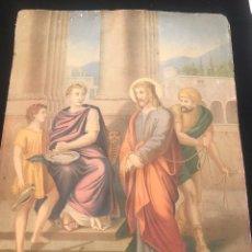 Arte: OFERTA DE PRECIOSA LAMINA MUY ANTIGUA SOBRE CARTON DEL VIA CRUCIS -UNO DE LOS 14 PASOS. Lote 144209690