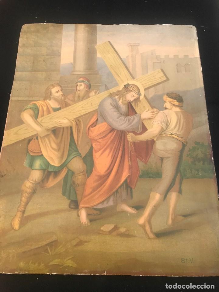 OFERTA DE PRECIOSA LAMINA MUY ANTIGUA SOBRE CARTON DEL VIA CRUCIS -UNO DE LOS 14 PASOS (Arte - Arte Religioso - Pintura Religiosa - Otros)