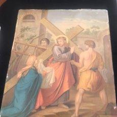 Arte: OFERTA DE PRECIOSA LAMINA MUY ANTIGUA SOBRE CARTON DEL VIA CRUCIS -UNO DE LOS 14 PASOS. Lote 144212138