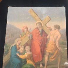 Arte: OFERTA DE PRECIOSA LAMINA MUY ANTIGUA SOBRE CARTON DEL VIA CRUCIS -UNO DE LOS 14 PASOS. Lote 144212566