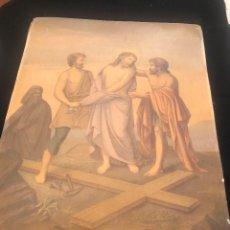 Arte: OFERTA DE PRECIOSA LAMINA MUY ANTIGUA SOBRE CARTON DEL VIA CRUCIS -UNO DE LOS 14 PASOS. Lote 144213082