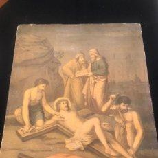 Arte: OFERTA DE PRECIOSA LAMINA MUY ANTIGUA SOBRE CARTON DEL VIA CRUCIS -UNO DE LOS 14 PASOS. Lote 144213322