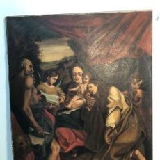 Arte: OLEO SOBRE TELA DE SAN MARCOS Y LA VIRGEN ANTIGUO.. Lote 144228298