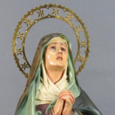Art - Virgen Dolorosa en pasta madera El Arte Cristiano Olot ojos cristal primera época. - 144248350