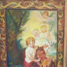 Arte: OLEO SOBRE TAPIZ NIÑOS DE LA CONCHA MURILLO COPIA. Lote 144251058