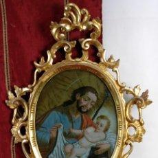 Arte: CRISTAL PINTADO SAN JOSÉ CON EL NIÑO ESCUELA ESPAÑOLA SIGLO XVIII CON CORNUCOPIA DE ÉPOCA. Lote 144260786