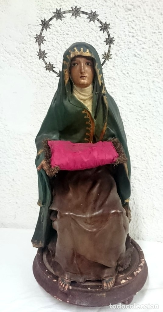 Arte: Antigua cap i pota especial con corona y espada de plata. Telas encolada. Virgen.53 cm alto.Dolorosa - Foto 8 - 137673682