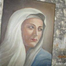 Arte: ANTIGUA PINTURA VIRGEN OLEO EN LIENZO CON DEDICATORIA O FIRMA, G. .. PROCEDE DE ALICANTE. Lote 140466186