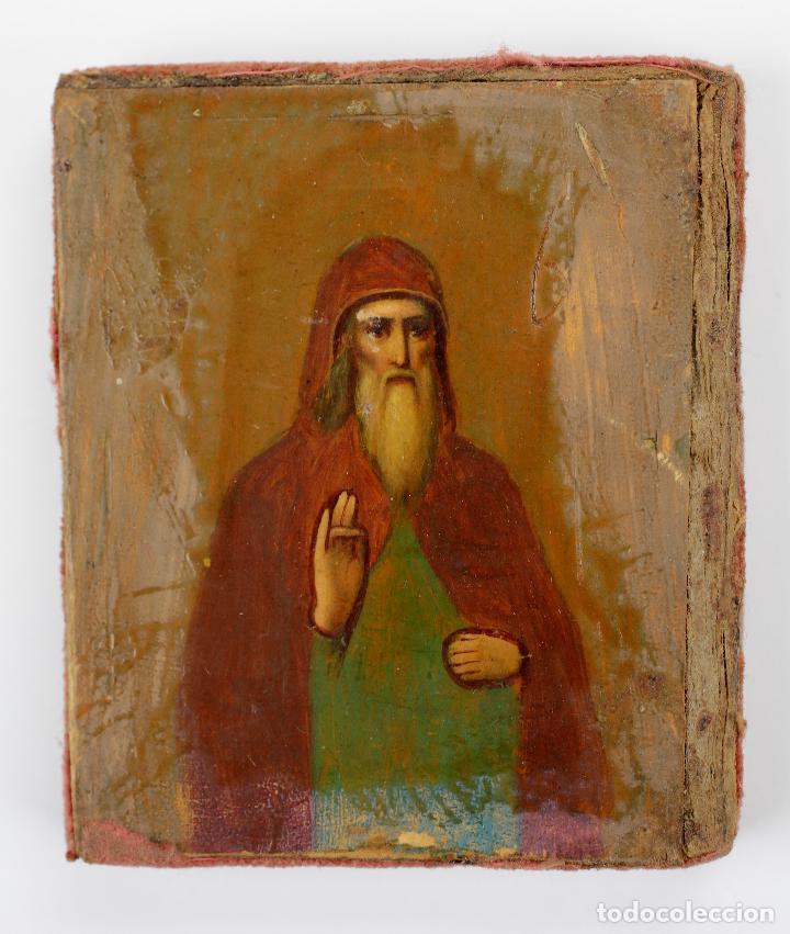 ICONO RUSO, DIVISIÓN AZUL FRENTE DE SAN PETERSBURGO, 1943, RUSIA. 6X6,5CM (Arte - Arte Religioso - Iconos)