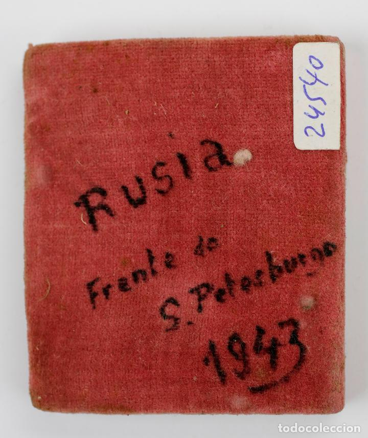 Arte: Icono ruso, división azul frente de San Petersburgo, 1943, Rusia. 6x6,5cm - Foto 2 - 144448838