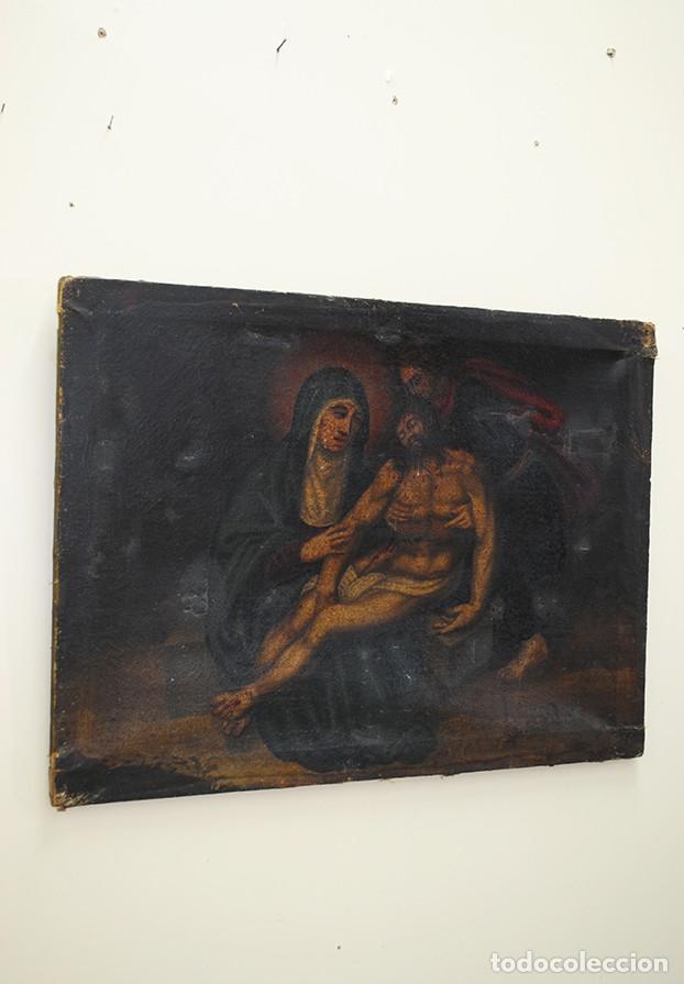 ÓLEO SOBRE LIENZO ANTIGUO DESCENDIMIENTO DE JESÚS (Arte - Arte Religioso - Pintura Religiosa - Oleo)