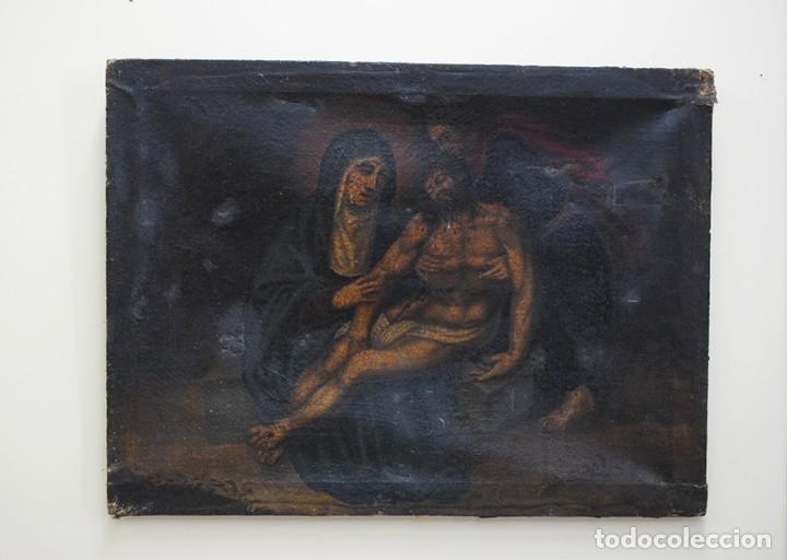 Arte: ÓLEO SOBRE LIENZO ANTIGUO DESCENDIMIENTO DE JESÚS - Foto 4 - 144456050