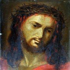 Arte: CRISTO CON CORONA DE ESPINAS. ÓLEO SOBRE ZINC. FIRMADO. ESPAÑA(?). XVIII-XIX. Lote 144469246