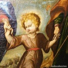 Arte: LA SAGRADA FAMILIA Y LA TRINIDAD. ÓLEO SOBRE LIENZO. ANÓNIMO. ESPAÑA. XVII-XVIII. Lote 144482122
