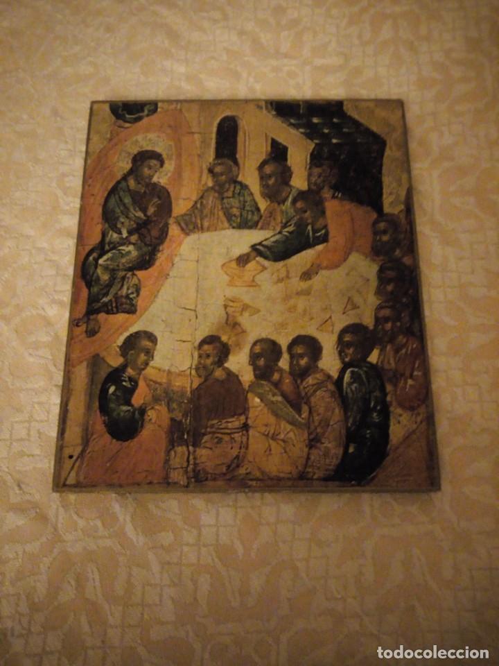 ICONO LA ULTIMA CENA MUSEUM RECKLINGHAUSEN BONGERS, LAMINA PEGADA A MADERA. (Arte - Arte Religioso - Iconos)