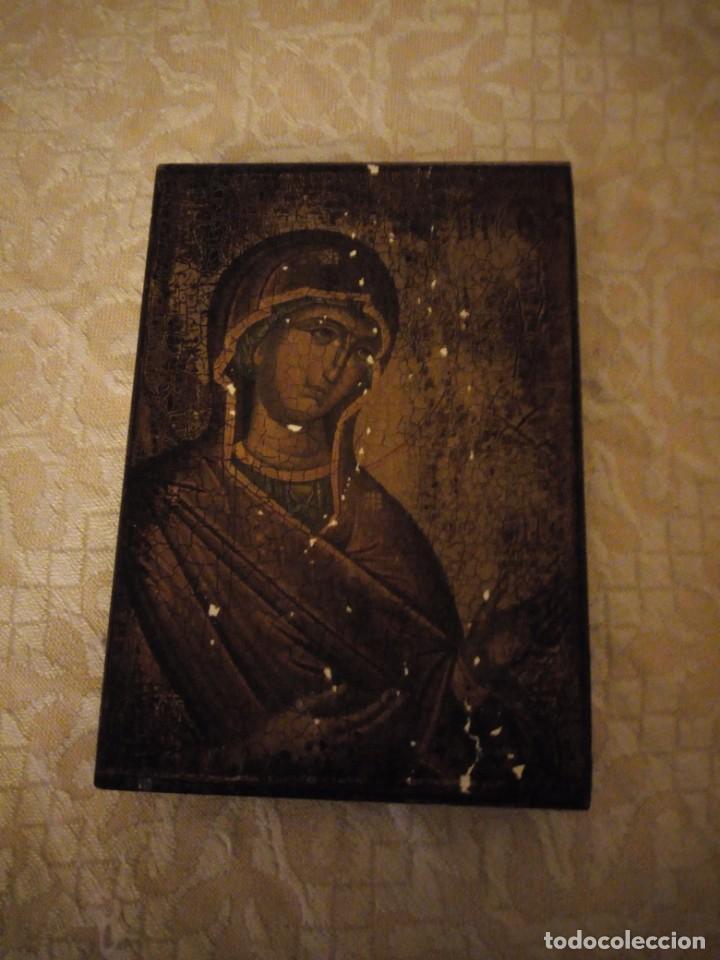 ANTIGUO ICONO VIRGEN CON EL NIÑO,LAMINA ANTIGUA PEGADA EN MADERA. (Arte - Arte Religioso - Iconos)