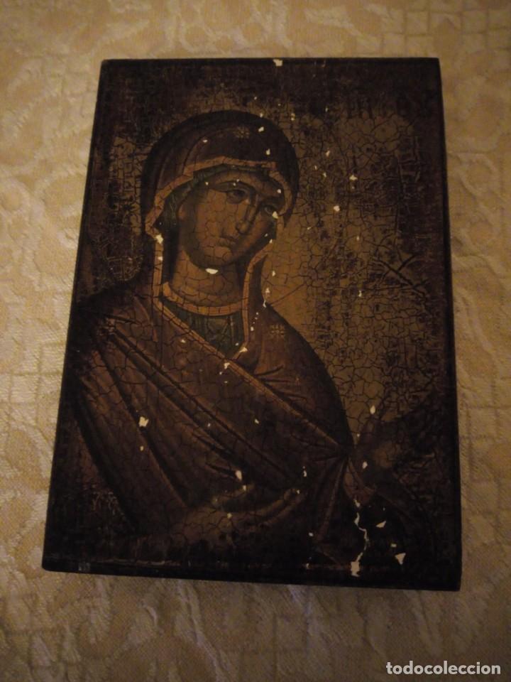 Arte: Antiguo icono virgen con el niño,lamina antigua pegada en madera. - Foto 2 - 144500086