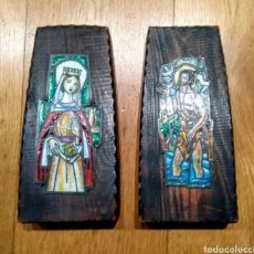 Arte: 2 FIGURAS ESMALTADAS SOBRE METAL. Lote 144587669