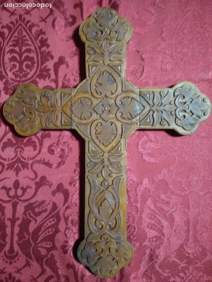 TALLA MADERA CRUZ TRINIDAD MADERA BOJ SIGLO XVIII MEDIDA 31 X 40 (Arte - Arte Religioso - Escultura)