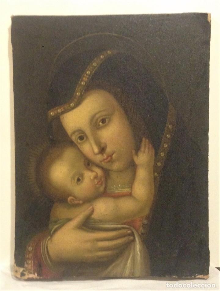 Arte: ANTIGUO Y BONITO OLEO SOBRE LIENSO. VIRGEN CON EL NIÑO. SIGLO XVI - XVII? - Foto 2 - 70578953