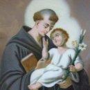 Arte: OLEO SOBRE CRISTAL SAN ANTONIO DE PADUA, S. XIX. Lote 145012546