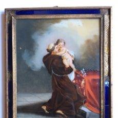 Arte: PINTURA ANTIGUA - CRISTAL PINTADO ANTIGUO - SAN ANTONIO - SIGLO XVIII. Lote 145145045