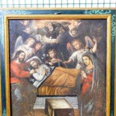 Arte: PIEZON OLEO TELA XVII ENTIERRO SAN JOSE (JESUS VIRGEN ANGELES ARCANGEL DIOS ESPIRITU SANTO). Lote 145149226