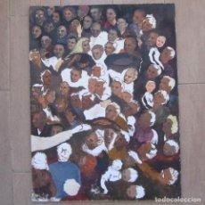 Arte: ÓLEO SOBRE LIENZO. IMAGEN DEL ROSTRO DE JESUCRISTO SOBRE EL GENTÍO. 61 X 46 CM. Lote 145161026