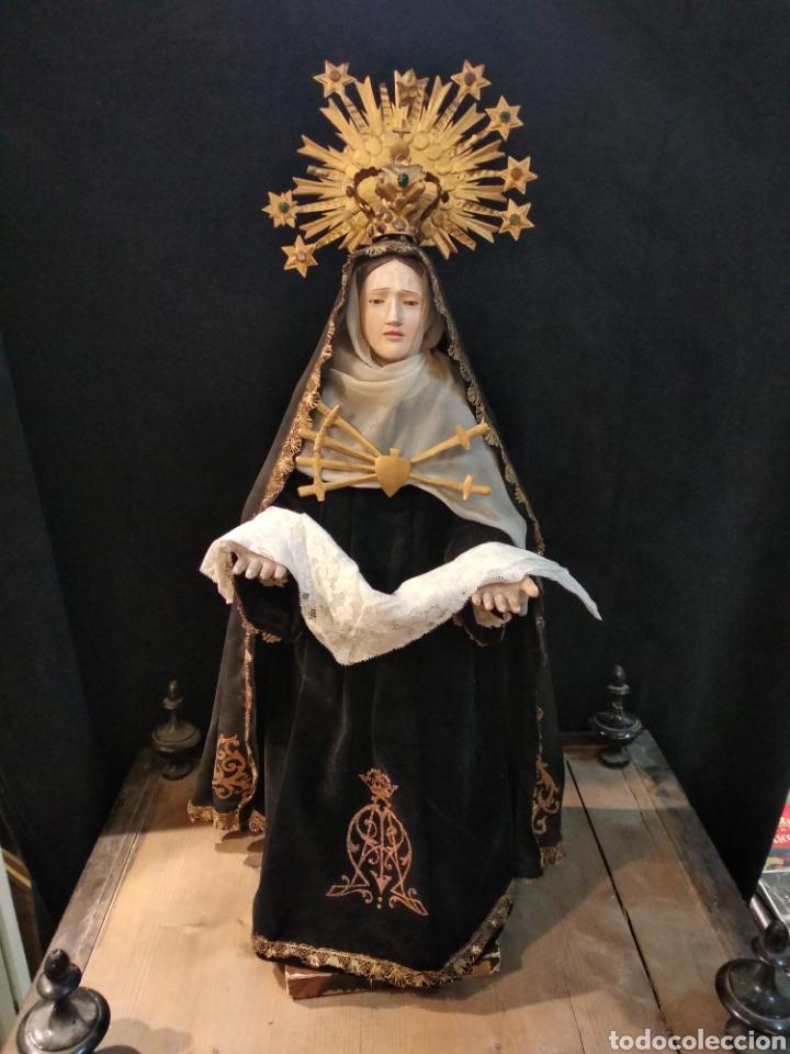 ESPECTACULAR VIRGEN DOLOROSA CAPIPOTA, CON CAPILLA .SXIX (Arte - Arte Religioso - Escultura)