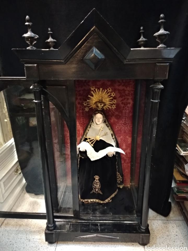 Arte: Espectacular Virgen Dolorosa Capipota, con capilla .sXIX - Foto 3 - 145270076