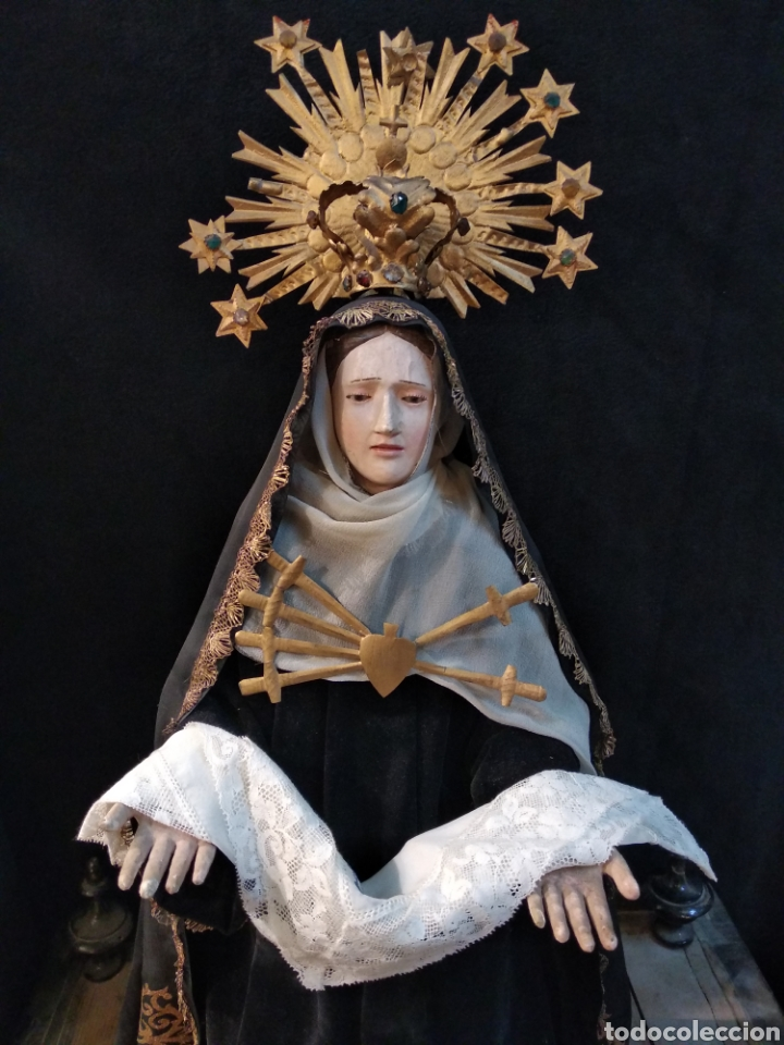 Arte: Espectacular Virgen Dolorosa Capipota, con capilla .sXIX - Foto 4 - 145270076
