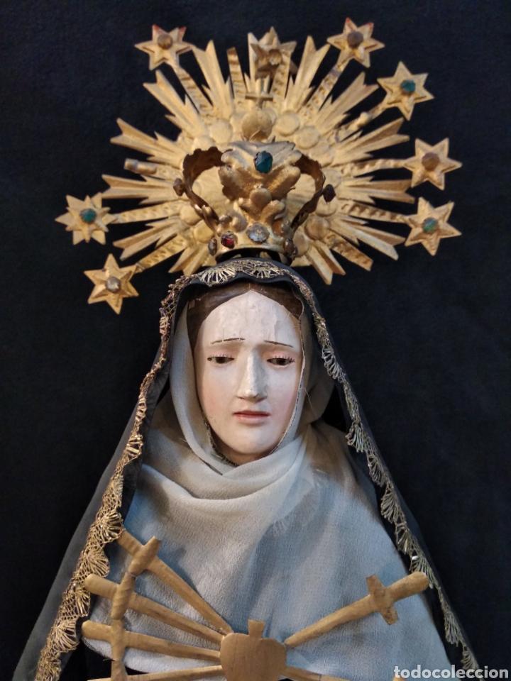 Arte: Espectacular Virgen Dolorosa Capipota, con capilla .sXIX - Foto 5 - 145270076