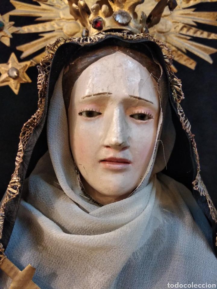Arte: Espectacular Virgen Dolorosa Capipota, con capilla .sXIX - Foto 6 - 145270076