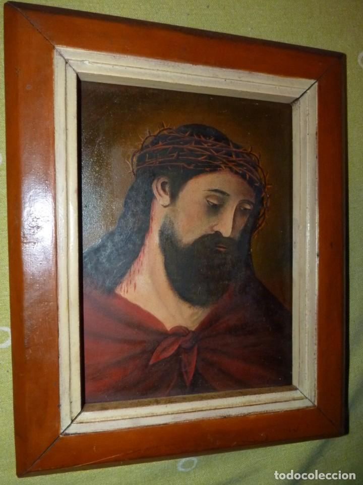 CRISTO CON CORONA ESPINAS ECCE HOMO SANTA FAZ ÓLEO SOBRE TABLA FIRMADO CASADO FINALES XIX (Arte - Arte Religioso - Pintura Religiosa - Oleo)