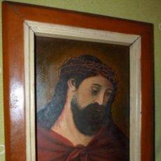 Arte: CRISTO CON CORONA ESPINAS ECCE HOMO SANTA FAZ ÓLEO SOBRE TABLA FIRMADO CASADO FINALES XIX. Lote 145284334