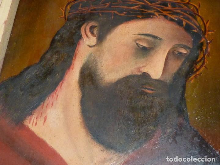 Arte: CRISTO CON CORONA ESPINAS ECCE HOMO SANTA FAZ ÓLEO SOBRE TABLA FIRMADO CASADO FINALES XIX - Foto 3 - 145284334