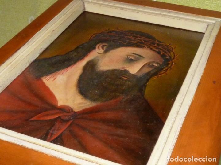 Arte: CRISTO CON CORONA ESPINAS ECCE HOMO SANTA FAZ ÓLEO SOBRE TABLA FIRMADO CASADO FINALES XIX - Foto 6 - 145284334