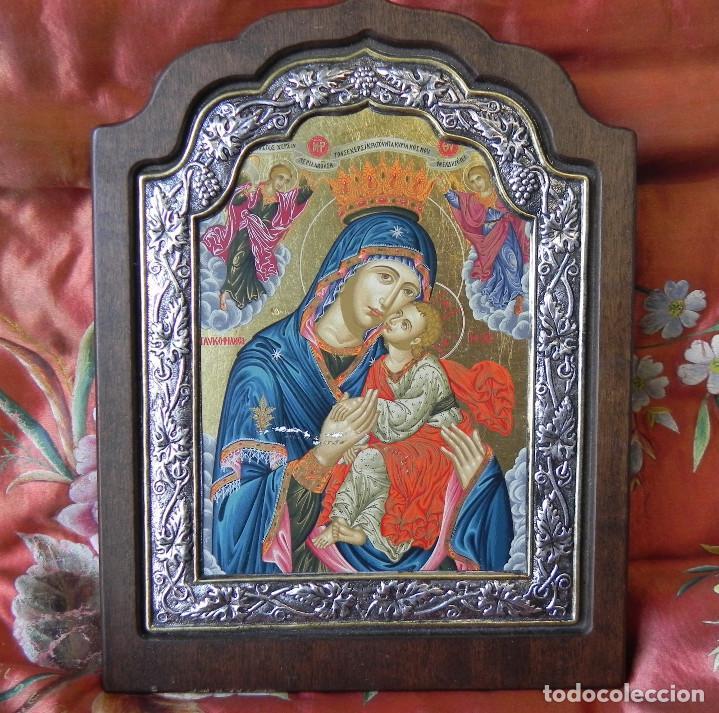 ** IMPORTANTE ICONO EN PLATA DE LEY 950 SOBRE MADERA VIRGEN CON NIÑO ** (Arte - Arte Religioso - Iconos)
