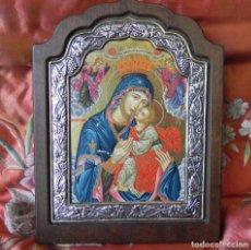 Arte: ** IMPORTANTE ICONO EN PLATA DE LEY 950 SOBRE MADERA VIRGEN CON NIÑO **. Lote 145497922