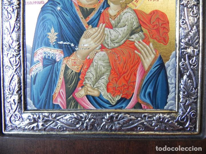 Arte: ** IMPORTANTE ICONO EN PLATA DE LEY 950 SOBRE MADERA VIRGEN CON NIÑO ** - Foto 5 - 145497922