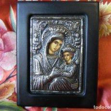 Arte: ** PRECIOSO ICONO EN PLATA DE LEY 950 SOBRE MADERA VIRGEN CON NIÑO **. Lote 145498390